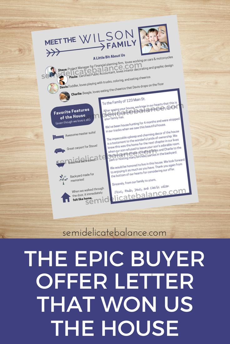 Epic Buyer Offer Letter That Won Us The House
