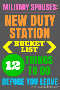 Bucket List for a New Duty Station