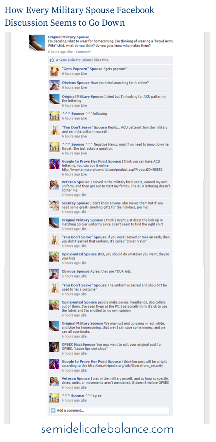 How Every Military Spouse Facebook  Discussion Seems to Go Down