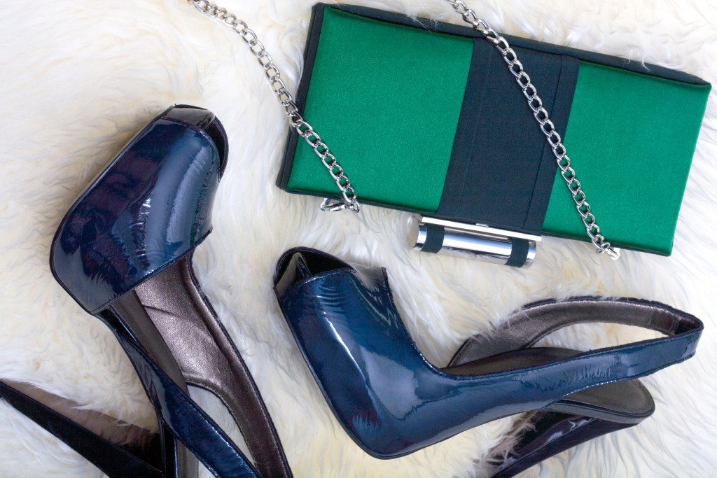 women shoes and clutch