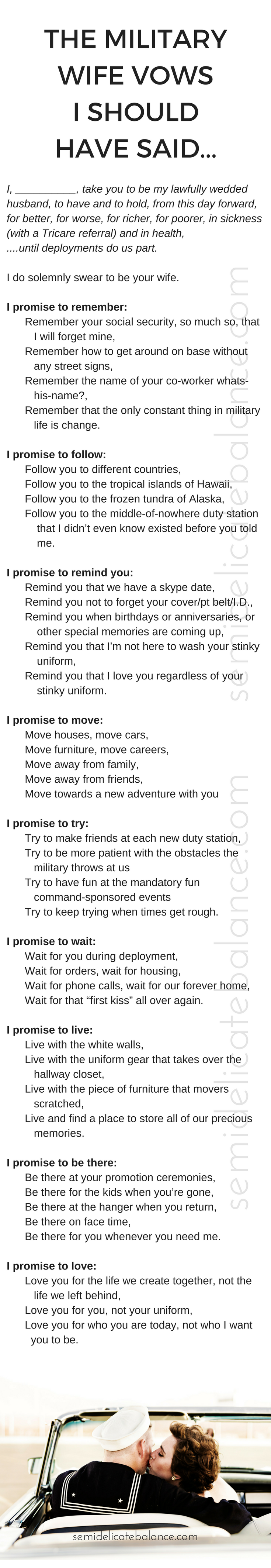 The Military Wife Vows I Should Have Said, vows copy