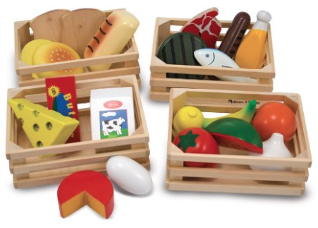 e0b2907f1c7 This wooden food set has food from the major food groups to promote  healthier diets for pretend play.